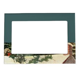 Vintage Santa Claus Reindeer Christmas Magnetic Fr Magnetic Picture Frame