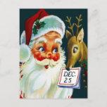 """Vintage Santa Claus & Reindeer Christmas Postcard<br><div class=""""desc"""">Vintage Santa Claus & Reindeer Christmas Postcard</div>"""