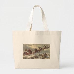 Vintage Santa Claus Reindeer Sleigh Christmas Eve bag