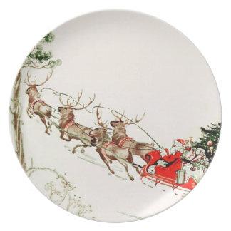 Vintage Santa Claus Reindeer Sleigh Christmas Eve Dinner Plate