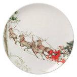 Vintage Santa Claus Reindeer Sleigh Christmas Eve Party Plates
