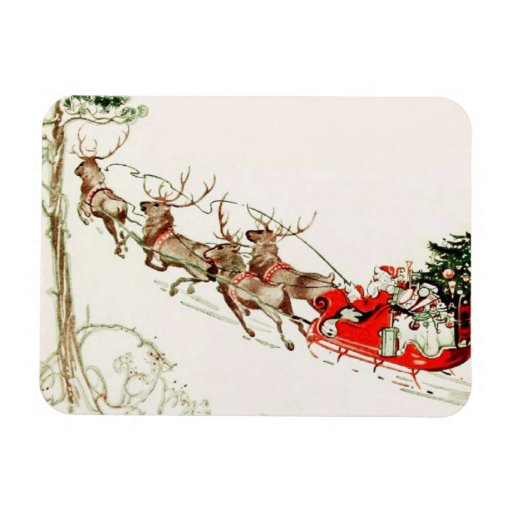 Vintage Santa Claus Reindeer Sleigh Christmas Eve Vinyl Magnets ...