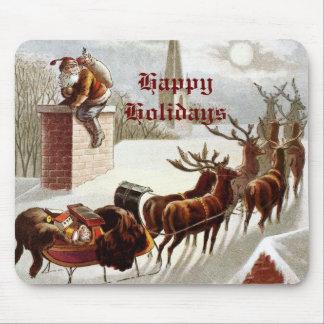 Vintage Santa Claus Reindeer Sleigh mousepad
