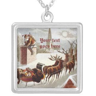 Vintage Santa Claus Reindeer Sleigh necklace