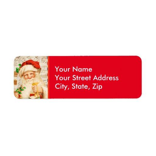Vintage Santa Claus Return Address Mailing Label
