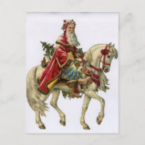 Vintage Santa Claus Riding White Horse Holiday Postcard
