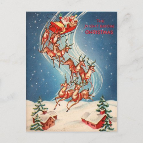 Vintage Santa Claus Sleigh and Reindeer Flying Holiday Postcard