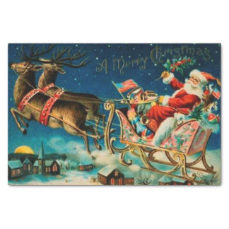 "Vintage Santa Claus Sleigh Christmas Holiday 10"" X 15"" Tissue Paper"