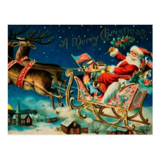 Vintage Santa Claus Sleigh Christmas Holiday Postcard