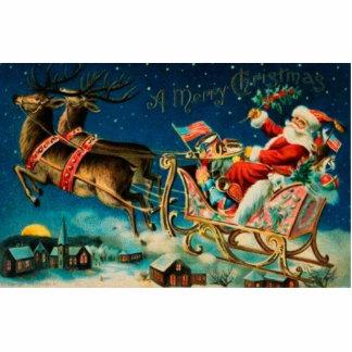 Vintage Santa Claus Sleigh Christmas Holiday Statuette