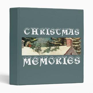 Vintage Santa Claus Sleigh on Rooftop Vinyl Binder