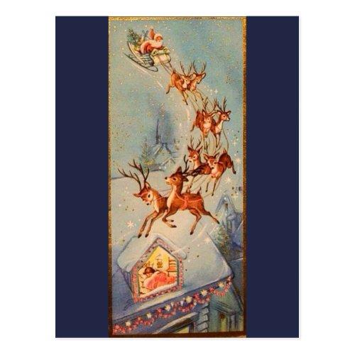 Vintage Santa Claus Sleigh Reindeer Flying Over Postcard