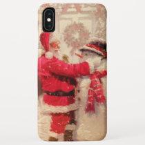 Vintage Santa Claus & Snowman Christmas iPhone XS Max Case