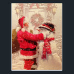 "Vintage Santa Claus Snowman Christmas Postcard<br><div class=""desc"">This design features a jovial Santa Claus and snowman in the snow.  #christmas #santa #winter #party #winter #holidays</div>"