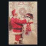 "Vintage Santa Claus Snowman Christmas Tissue Paper<br><div class=""desc"">This design features a jovial Santa Claus and snowman in the snow.  #christmas #santa #winter #gifts #holidays</div>"
