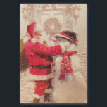"Vintage Santa Claus Snowman Christmas Tissue Paper<br><div class=""desc"">This design features a jovial Santa Claus and snowman in the snow. 