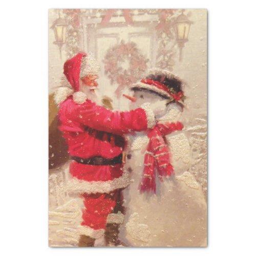 Vintage Santa Claus Snowman Christmas Tissue Paper