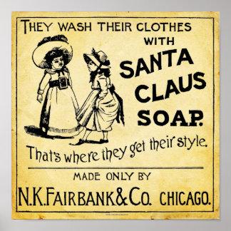 Vintage Santa Claus Soap Ad Print