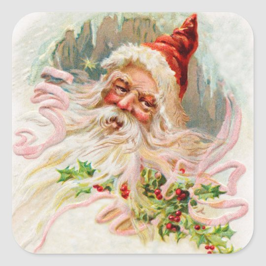 Vintage Santa Claus Square Sticker