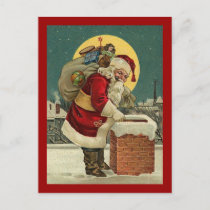 Vintage Santa Claus Toys Christmas Holiday Postcard
