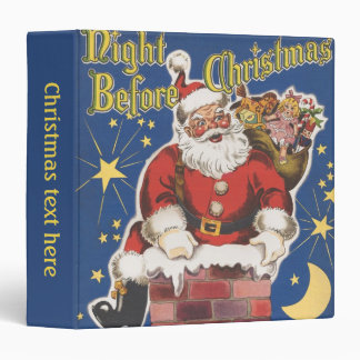 Vintage Santa Claus, Twas Night Before Christmas 3 Ring Binder