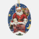 Vintage Santa Claus, Twas Night Before Christmas Ceramic Ornament