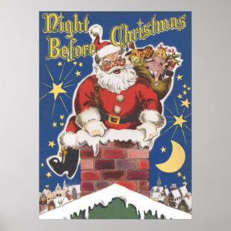 Vintage Santa Claus, Twas Night Before Christmas Poster
