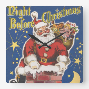 Vintage Santa Claus, Twas Night Before Christmas Square Wall Clock
