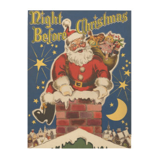 Vintage Santa Claus, Twas Night Before Christmas Wood Wall Art