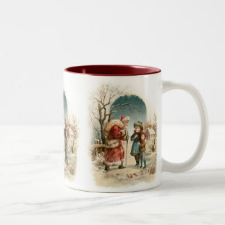Vintage Santa Claus Two-Tone Coffee Mug