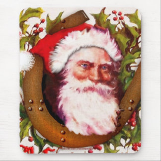 Vintage Santa Claus w Lucky Horseshoe & Holly Mouse Pad