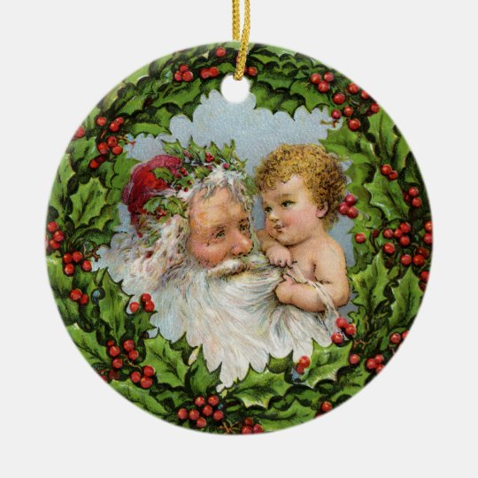 Vintage Santa Claus with Baby Ceramic Ornament