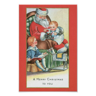 Vintage Santa Claus with Baby on his lap Poster