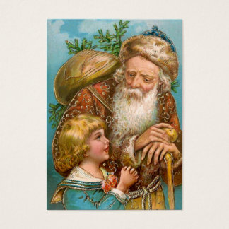 Vintage Santa Claus with Boy Business Card