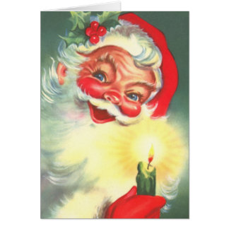 Vintage Santa Claus With Candle Greeting Card