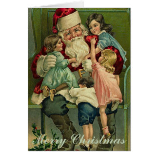 Vintage Santa Claus with Children Christmas Card