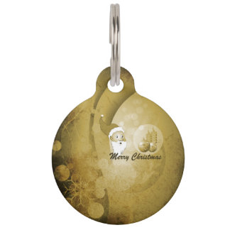 Vintage, Santa Claus with chistmas balls and candl Pet Tag