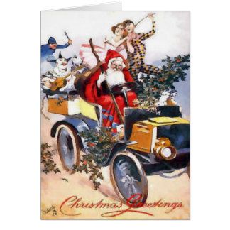 Vintage Santa Claus With Clowns In A Car Christmas Greeting Card