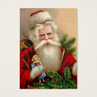 Vintage Santa Claus with Doll Business Card