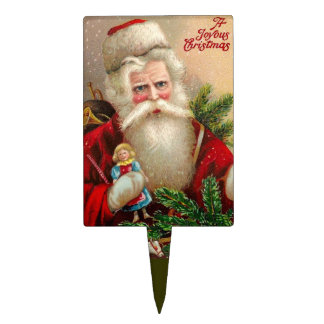 Vintage Santa Claus with Doll Cake Topper
