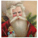 Vintage Santa Claus with Doll Napkin