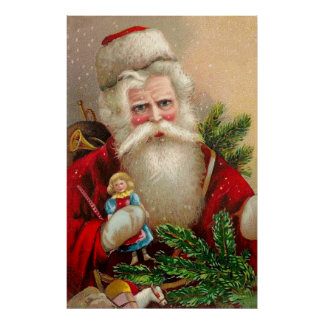 Vintage Santa Claus with Doll Poster