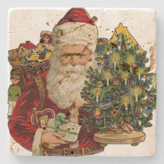 Vintage Santa Claus with Gifts Christmas Stone Coaster