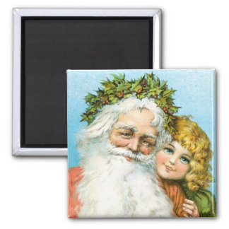 Vintage Santa Claus with girl Christmas magnet