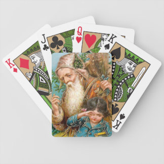Vintage Santa Claus with Naughty Girl Bicycle Playing Cards