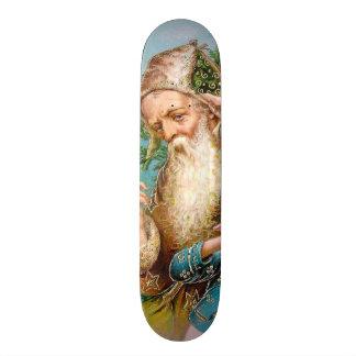 Vintage Santa Claus with Naughty Girl Skateboard