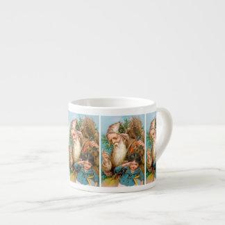 Vintage Santa Claus with Naughty Girl 6 Oz Ceramic Espresso Cup