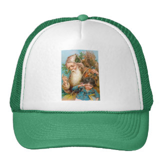 Vintage Santa Claus with Naughty Girl Trucker Hat