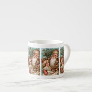 Vintage Santa Claus with Nice Girl Espresso Cup