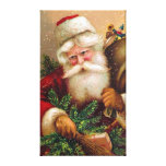 Vintage Santa Claus with Sack full of Toys Stretched Canvas Prints